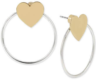 BCBGeneration Bcbg Two-Tone Heart & Hoop Front-and-Back Earrings
