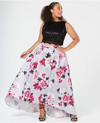 City Studios Trendy Plus Size 2-Pc. Sequin Floral Gown