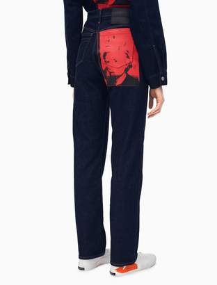 Calvin Klein warhol portrait high rise straight jeans