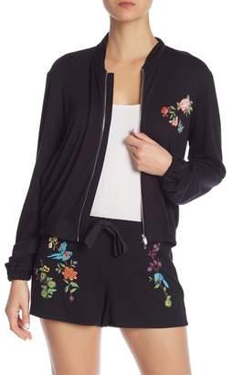 Josie Embroidered Knit Bomber Jacket