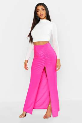 boohoo Ruched Front Side Split Slinky Maxi Skirt