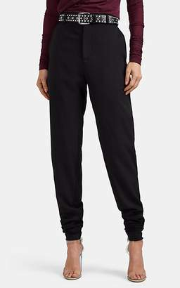 Y/Project Women's Wool Twill & Double-Knit Jersey Slim Trousers - Black