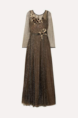 Marchesa Appliquéd Glittered Tulle Gown - Black