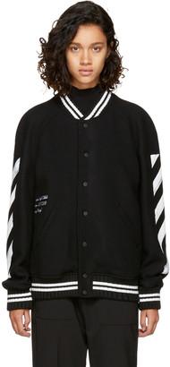 Off-White Black Brushed Diagonal Varsity Jacket $1,190 thestylecure.com