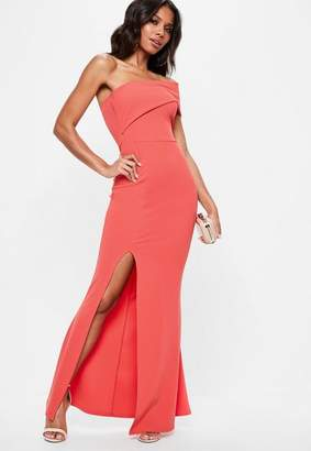 Missguided Coral One Shoulder Maxi Dress