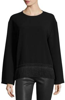 Public School Riza Long-Sleeve Crepe Fringe-Trim Top, Black
