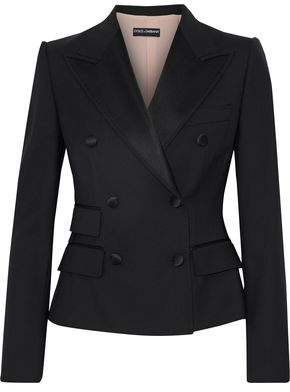 Dolce & Gabbana Double-Breasted Satin-Trimmed Wool-Blend Blazer