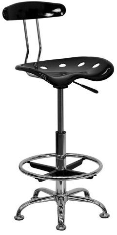 FlashFurniture Vibrant Drafting Stool with Tractor Seat, Black & Chrome