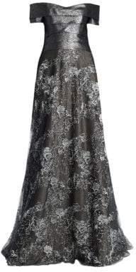 Rene Ruiz Off-The-Shoulder Floor-Length Gown