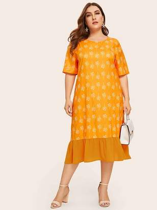 Shein Plus Neon Orange Ruffle Hem Plants Print Dress