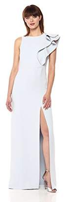 Halston Women's Sleeveless Boatneck Asymmetrical Flounce Gown