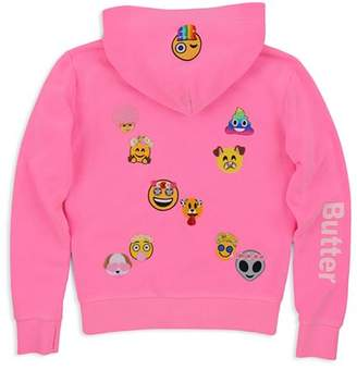 Butter Shoes Girls' Snapchat Emoji Patch Hoodie - Big Kid