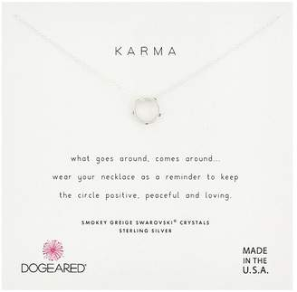 Dogeared Karma, Mini Slide Ring with Smoky Greige Crystals Necklace Necklace