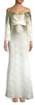 Badgley Mischka Platinum Metallic Off-the-Shoulder Gown