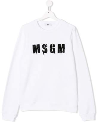 MSGM Kids TEEN beaded logo sweatshirt