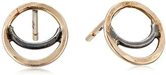 Melissa Joy Manning Oxidized Sterling and 14K Gold Stud Earrings