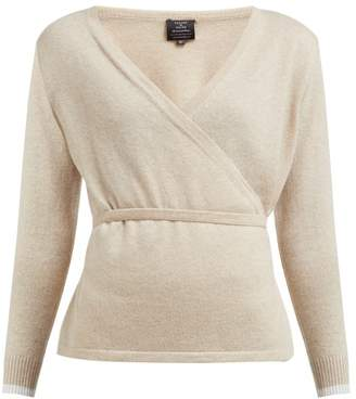 Pepper & Mayne Cashmere And Wool Blend Wrap Cardigan - Womens - Beige