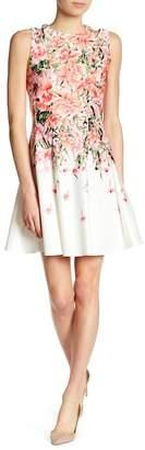 Gabby Skye Sleeveless Floral Cutout Scuba Dress