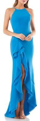 Carmen Marc Valvo Cascading Ruffle Gown