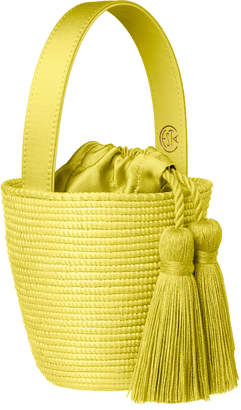 Cesta Collective Exclusive Party Pail Leather-Trimmed Sisal Bucket Bag
