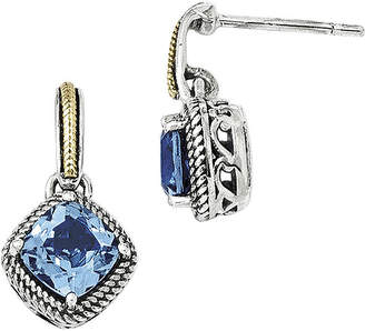 Couture FINE JEWELRY Shey Genuine Light Swiss Blue Topaz Sterling Silver with 14K Yellow Gold Earrings