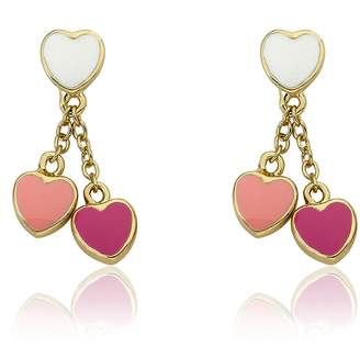 "Michael Kors Little Miss Twin Stars ""I LOVE My Jewels"" 14k Gold-Plated White Enamel Heart with Pink and Hot Pink Heart Dangle Earring"