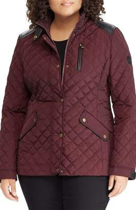 Lauren Ralph Lauren Quilted Jacket with Faux Leather Trim