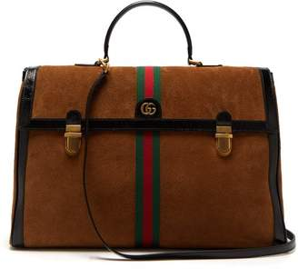 Gucci - Ophidia Suede And Patent Leather Holdall - Mens - Brown Multi