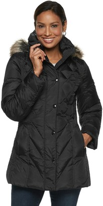 London Fog Tower By Women's TOWER by Hooded Faux-Fur Down Puffer Coat