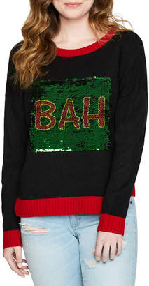 It's Our Time IT S OUR TIME Bah Hum Bug Reversible Sequin Sweater-Juniors
