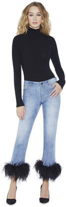 Alice + Olivia Tasha Mid Rise Cropped Feather Hem Jeans