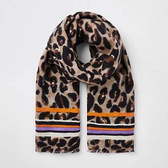 River Island Womens Brown leopard and stripe print scarf