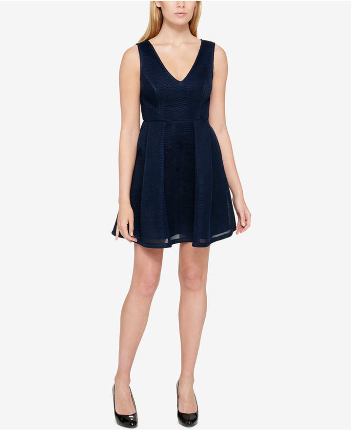 Guess Sleeveless Mesh Fit & Flare Dress