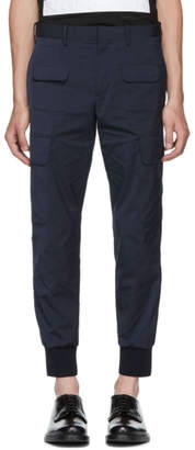 Neil Barrett Navy Rib Cuff Cargo Pants