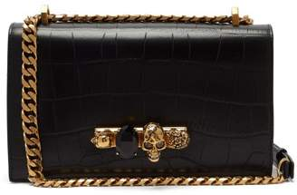 Alexander Mcqueen - Jewelled Crocodile Effect Leather Shoulder Bag - Womens - Black