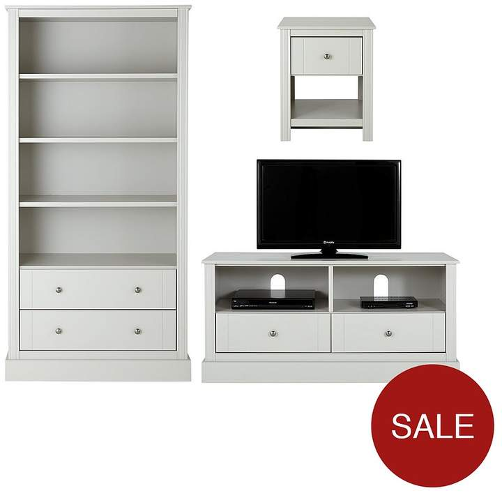 Dover Ready Assembled 3 Piece Living Room Set - Storage Bookcase, TV Unit And Lamp Table - Grey
