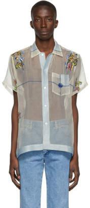 Off-White Bode Blue and Sheer Pagoda Scene Shirt