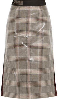Fendi Prince Of Wales Chiffon-trimmed Checked Glossed-wool Midi Skirt - Gray