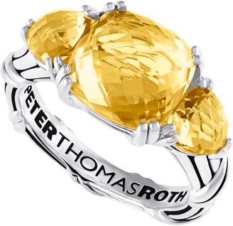 Peter Thomas Roth Sterling Citrine 3-Stone Cocktail Ring
