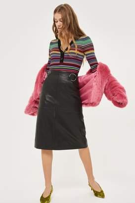 Topshop Leather Ring Midi Skirt