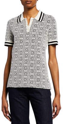 Tory Burch Gemini Link Short-Sleeve Polo Sweater