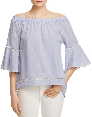AQUA Stripe Poplin Bell Sleeve Off-the-Shoulder Top - 100% Exclusive $58 thestylecure.com