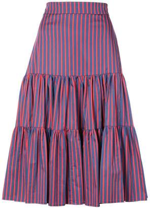 La Doublej striped tiered midi skirt