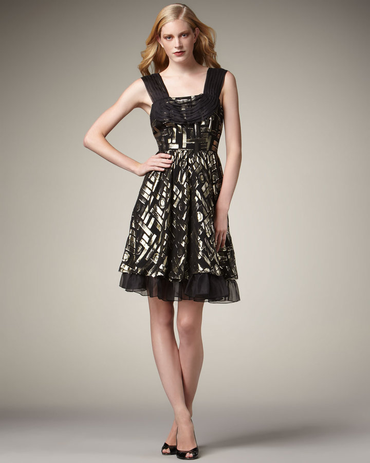 2 B Rych Metallic-Jacquard Party Dress