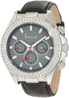 Freelook Women's HA6306-1 Black/Silver Swarovski Leather Watch