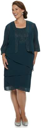 Le Bos Lebos Plus Size LeBos Lurex Tiered Dress & Jacket Set