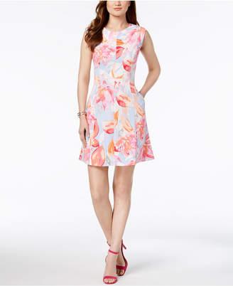 Vince Camuto Floral Printed A-Line Pocket Dress