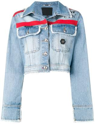 Philipp Plein X Playboy stripe denim jacket