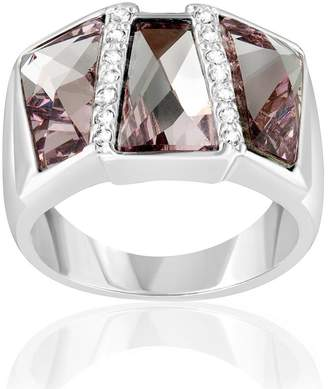 Swarovski Pink Crystal Elements Ring Rectangle and Rhodium Plated 7 CRY H400 C - Blue Pearls