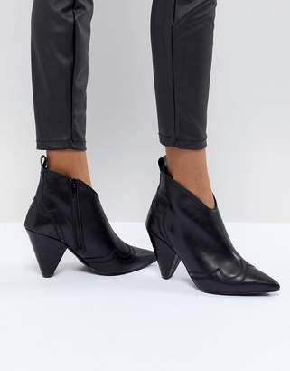 Kurt Geiger London Black Leather Western Heeled Ankle Boots